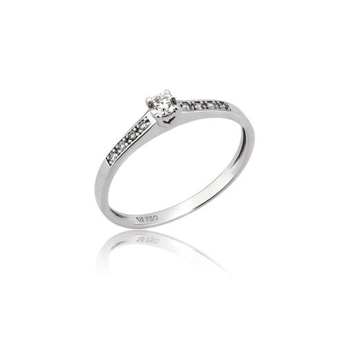 anel solitário em ouro branco com diamante central e diamantes no aro -  0,10ct 90a39af12d